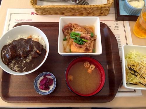 特製肉豆腐と炙りポークの黒カレーライス